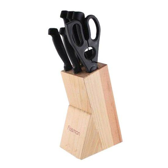 Набір ножів FISSMAN 7 предметів CENTRUM на дерев'яній підставці