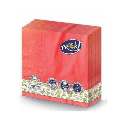 Серветка Prok червоні 3-шарові 33×33 20 шт