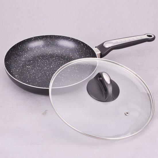Сковорідка 24см з кришкою і мармуровим покриттям