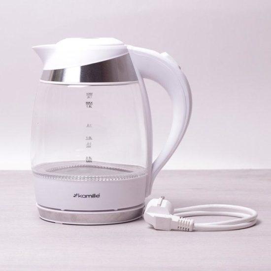 Електричний чайник з синім LED підсвічуванням і сталевими декоративними вставками на 1,8 л Kamille a1702A