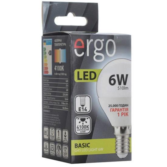 LED лампа ERGO Basic G45 E14 6W 220V 4100K Нейтральний білий