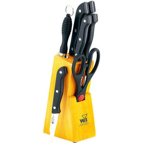 Набір кухонних ножів на дерев'яній підставці 8 пр. Wellberg, WB-280
