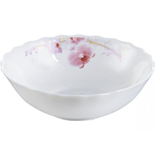 Склокерамічний салатник з зображенням рожевої орхідеї
